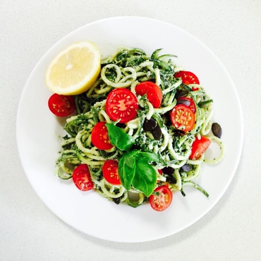 Raw Zucchini Noodles w. Basil Walnut Pesto