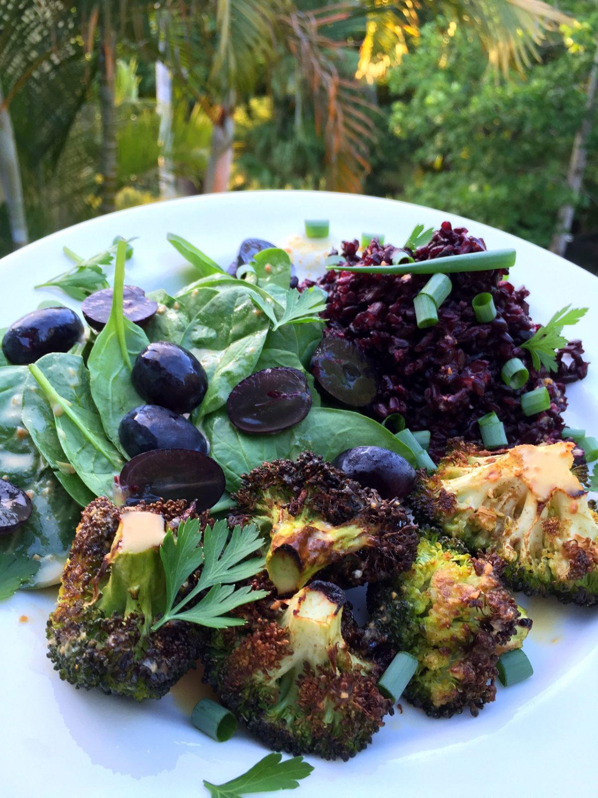 Grape, Black Rice & Roasted Broccoli Salad