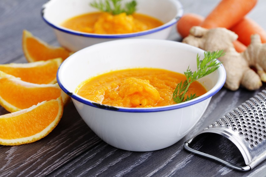 carrot and orage cold soup - food and drink