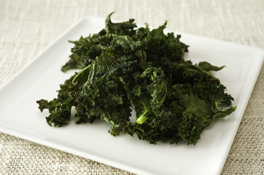 Healthy snack of a plate of roasted kale chips