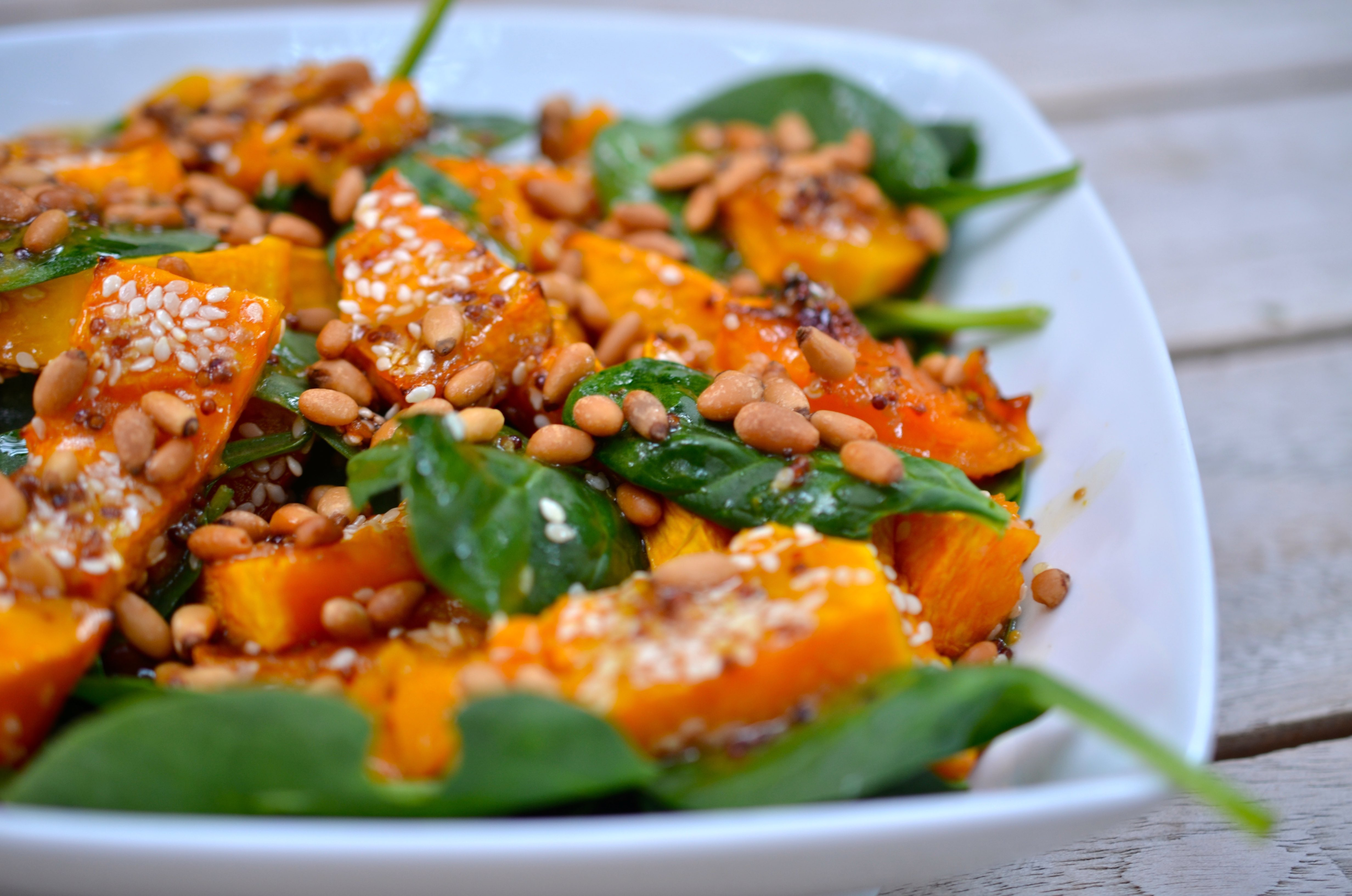 Sesame Pumpkin & Spinach Salad w. Sweet Mustard Dressing