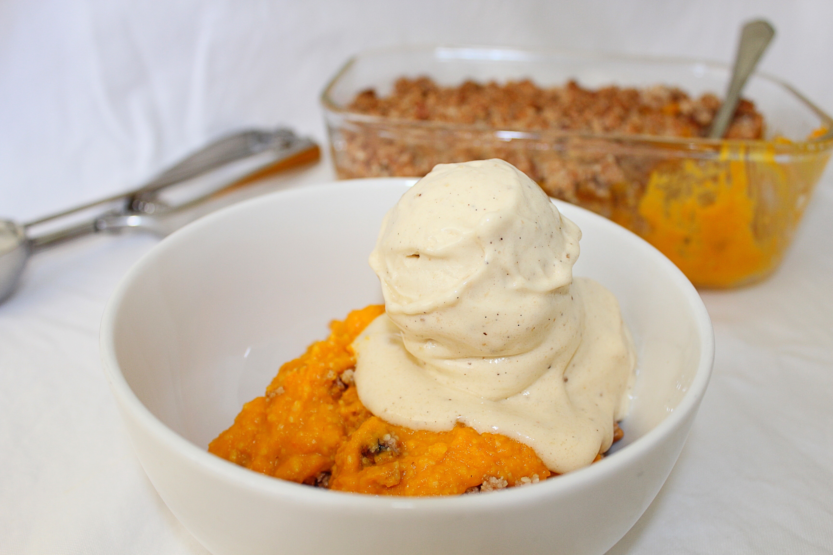 Sweet Pumpkin Casserole w. Maple Walnut Crumble