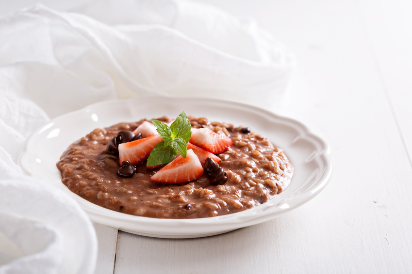 Chocolate strawberry risotto with vanilla and fresh strawberries