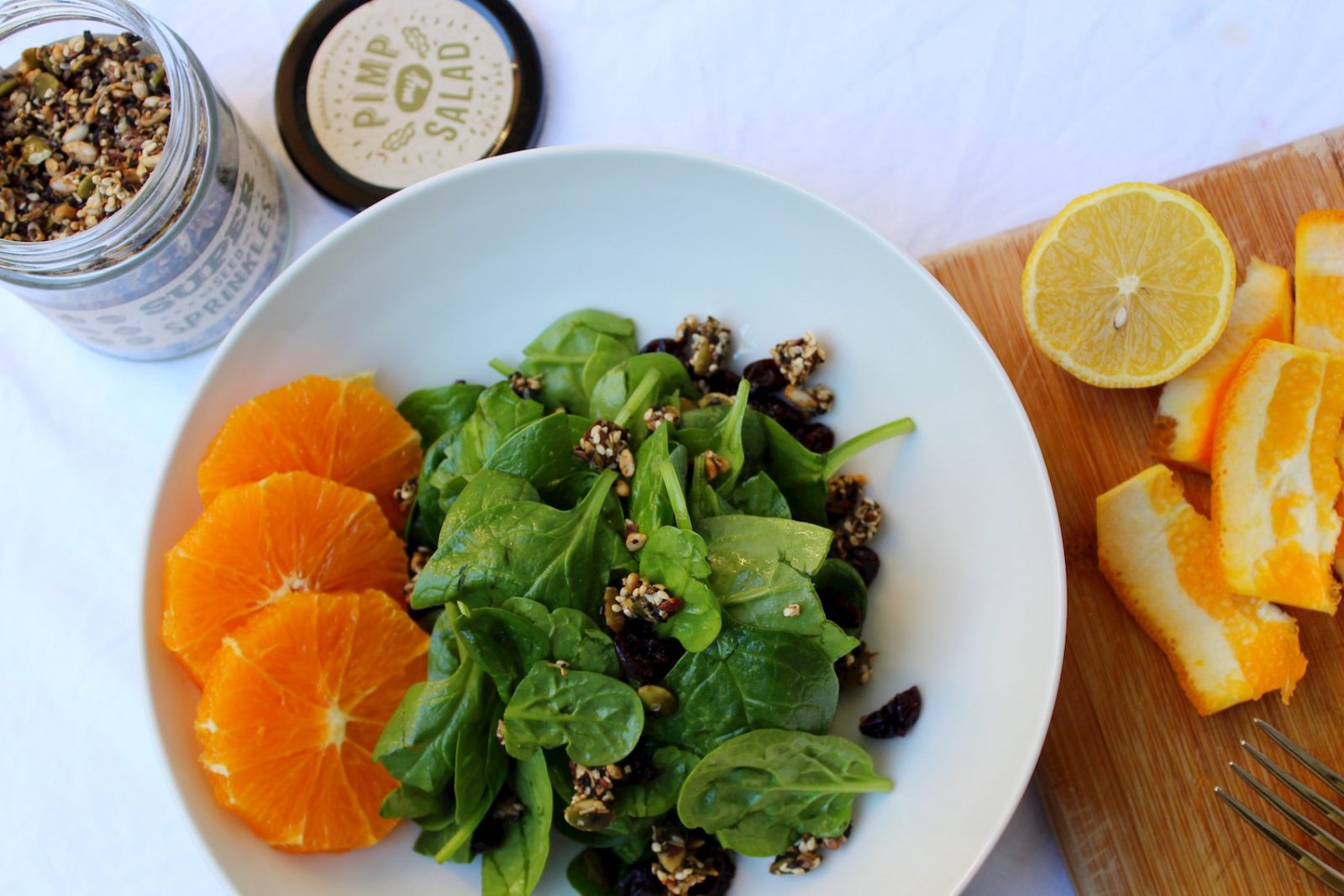 Spinach & Orange Super Seed Sprinkles Salad