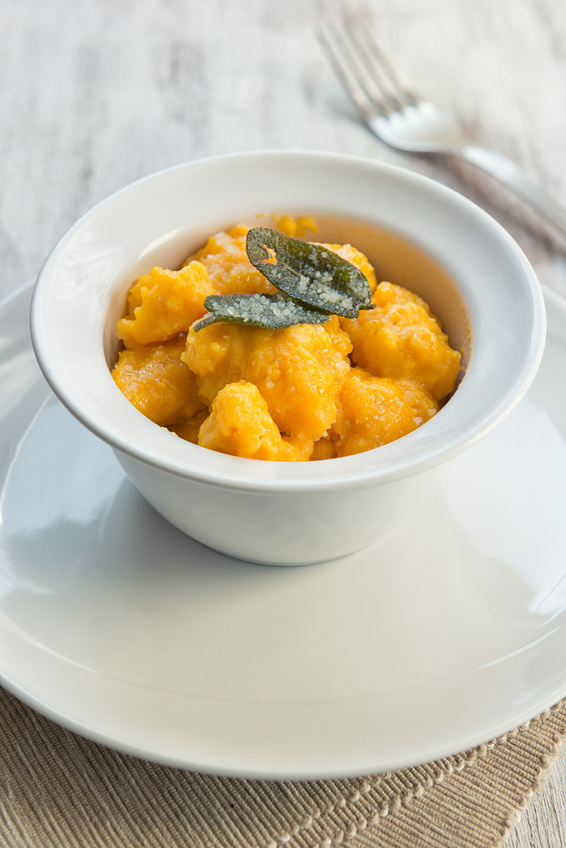 homemade gnocchi with pumpkin and butter