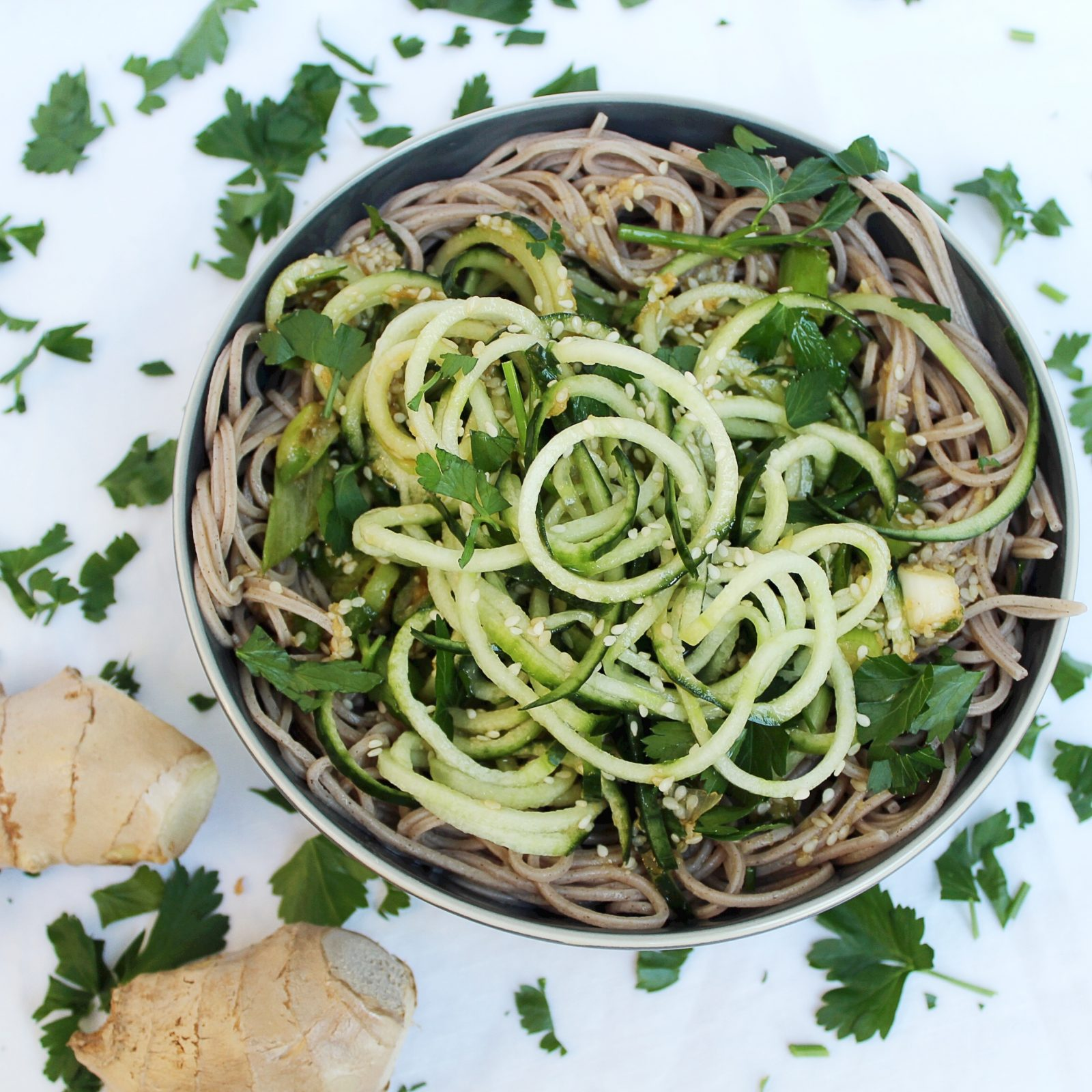 Cucumber Soba Noodles w. Sweet Ginger Sauce