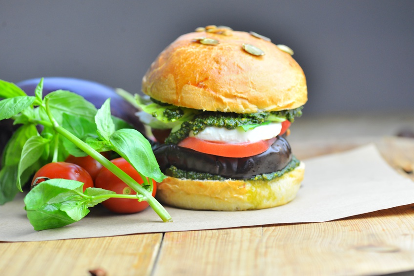 Hearty Eggplant Burgers in a Pumpkin Seed Bun