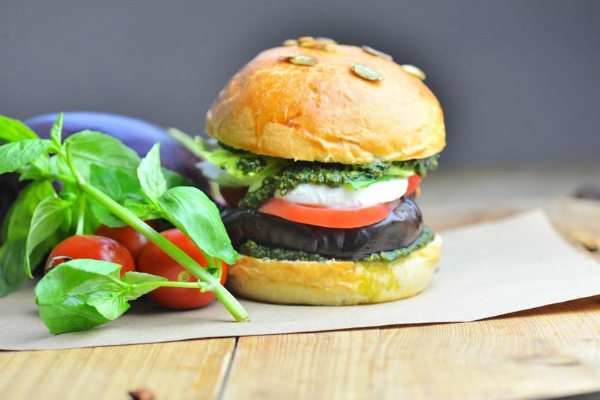 Hearty Eggplant Burgers in a Pumpkin Seed Bun