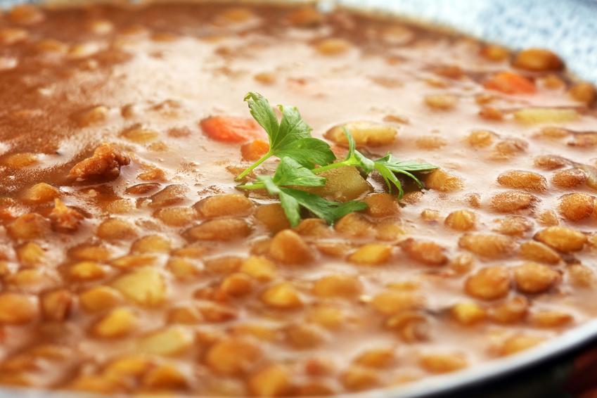 Lentil soup with potato in a bowl